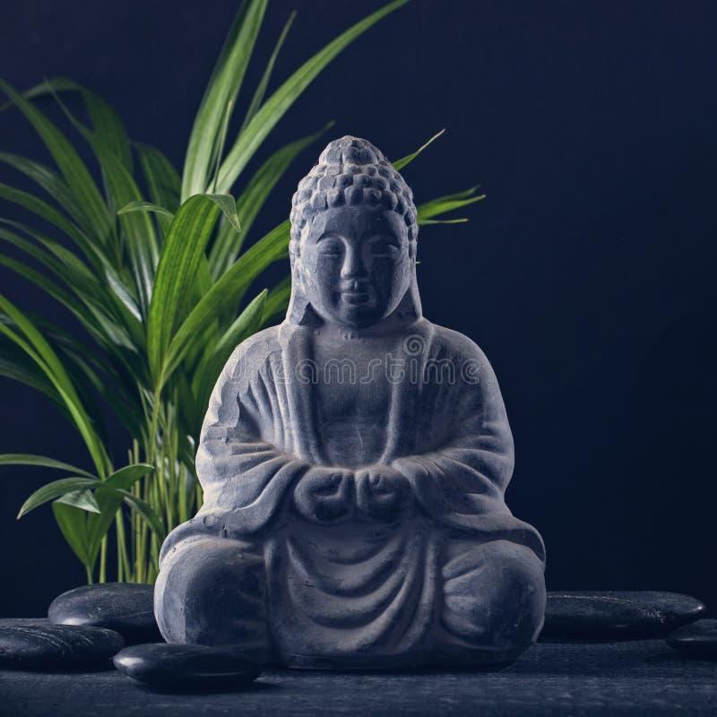 Het standbeeld en de stenen van Boedha stock afbeeldingen