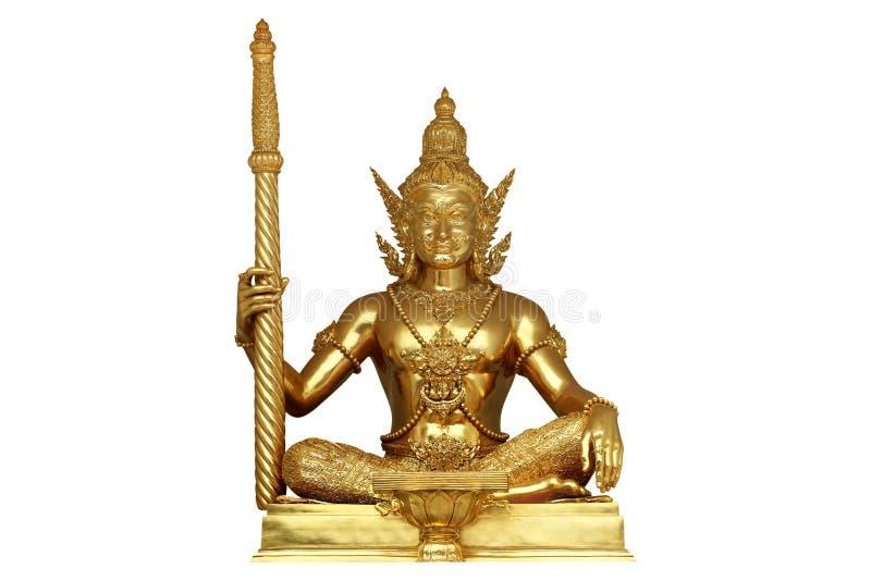 Het standbeeld van beeldhouwwerkreuzen in Thaise tempel op wit royalty-vrije stock afbeeldingen