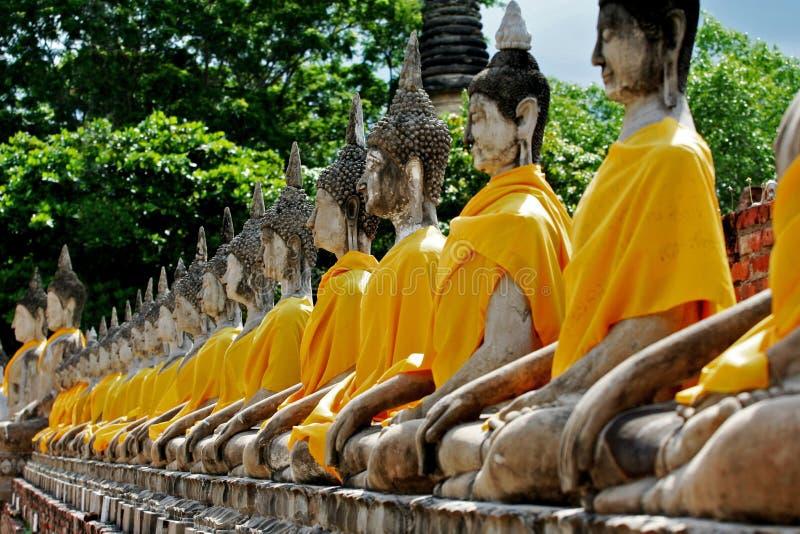 Het standbeeld van Boedha in ayutthaya van Thailand van de boeddhismetempel stock afbeelding