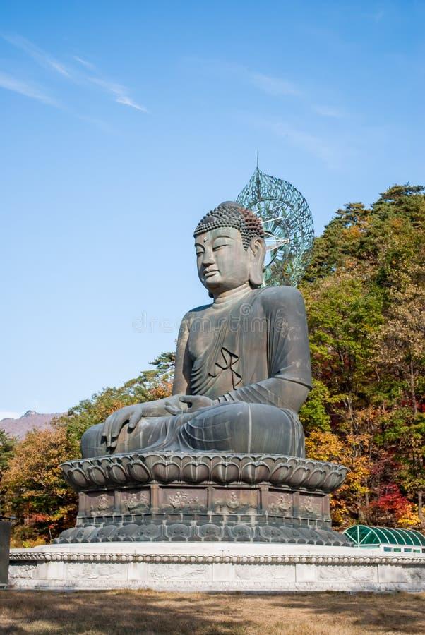 Het standbeeld van Boedha bij Shinheungsa-Tempel, Seoraksan, Korea