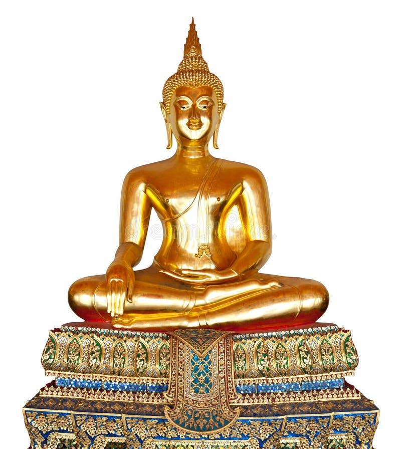 Het standbeeld van Boedha dat op wit wordt geïsoleerda. stock fotografie
