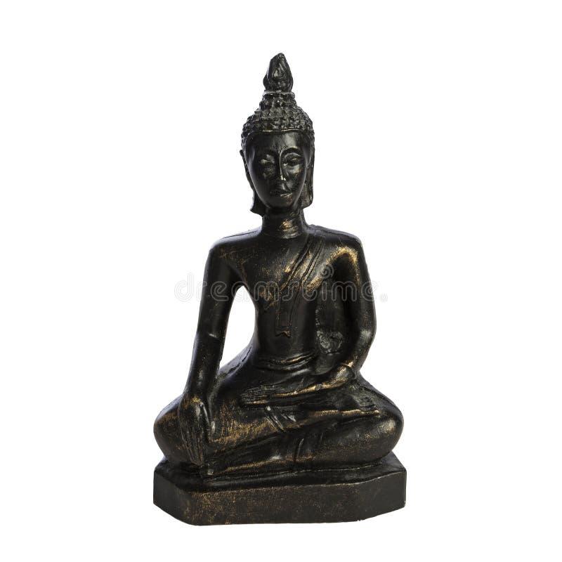 Het standbeeld van Boedha op witte zitting als achtergrond vreedzaam in meditatiehouding stock afbeeldingen