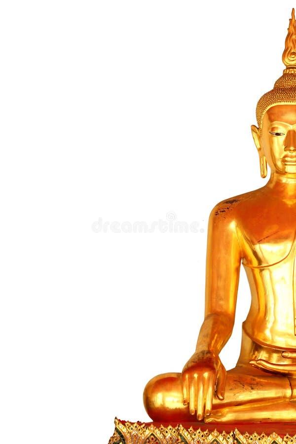 Het standbeeld van Boedha van de rechterkantmeditatie op witte achtergrond wordt geïsoleerd die stock afbeelding