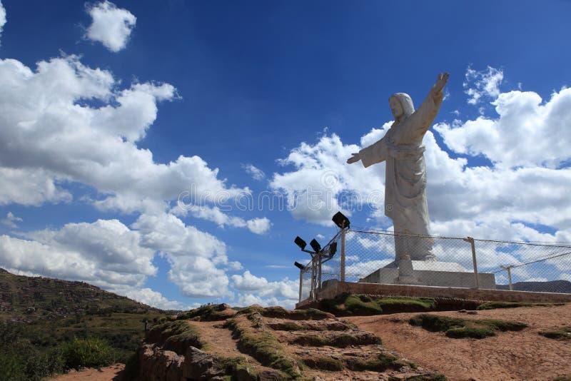 Het Standbeeld van Christus van Cuzco stock foto