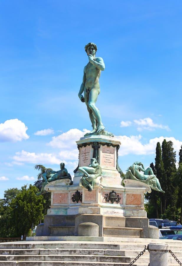Het standbeeld van David in Michelangelo Square Florence Italy stock foto