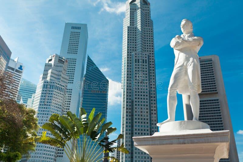 Het standbeeld van de heer Raffles, Singapore stock foto