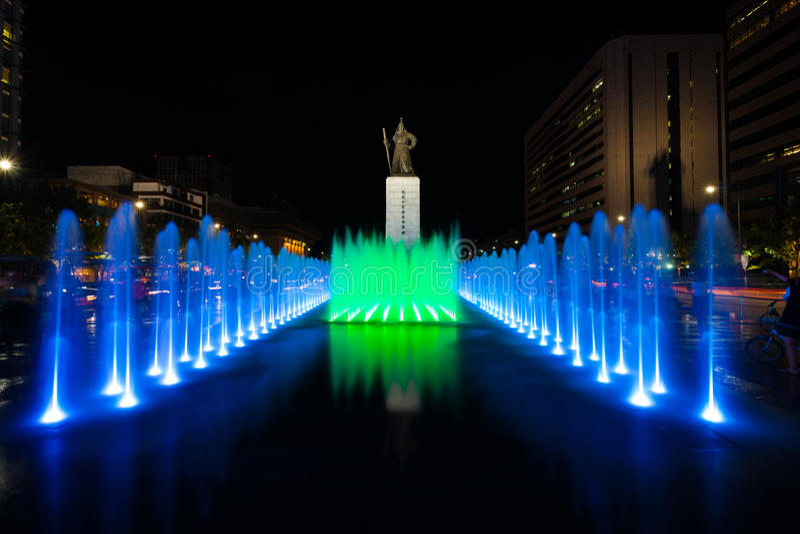 Gecentreerde de Fontein van de Nacht van het Standbeeld van de koning SAE Jong Dae royalty-vrije stock fotografie