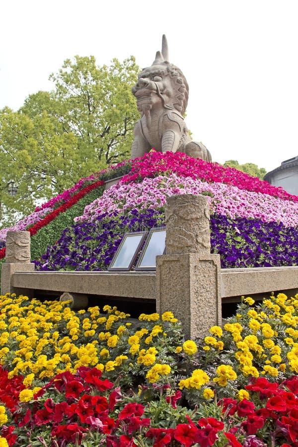 Het standbeeld van de leeuw in Suzhou, China royalty-vrije stock afbeelding