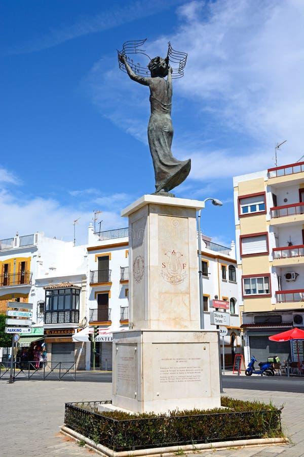 Het standbeeld van de Philamonicmaatschappij, Ayamonte stock fotografie