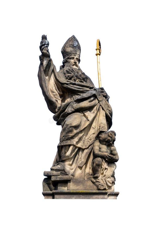Het standbeeld van een godsdienstige heilige, isoleert op witte achtergrond stock fotografie