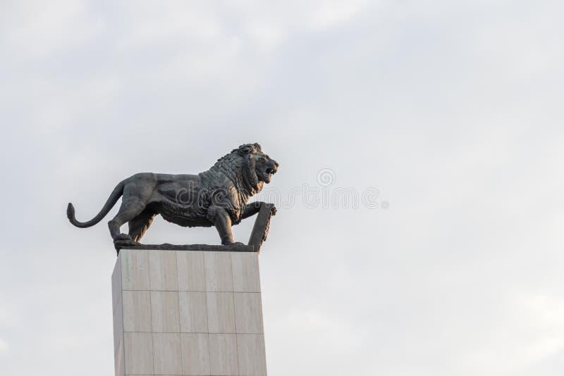 Het standbeeld van een leeuw in Bratislava, Slowakije royalty-vrije stock afbeeldingen