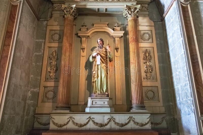 Het standbeeld van heilige James Apostle in Santiago Metropolitan Cathedral, patroon van de stad van Santiago - Santiago, Chili royalty-vrije stock afbeeldingen
