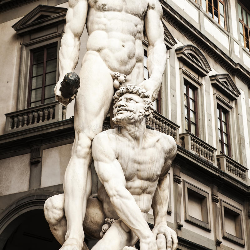 Het standbeeld van hercules en Cacus-in Florence, Italië stock foto's
