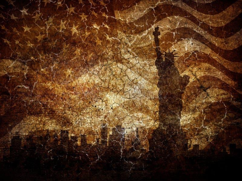Het standbeeld van het silhouet van vrijheid. stock afbeeldingen