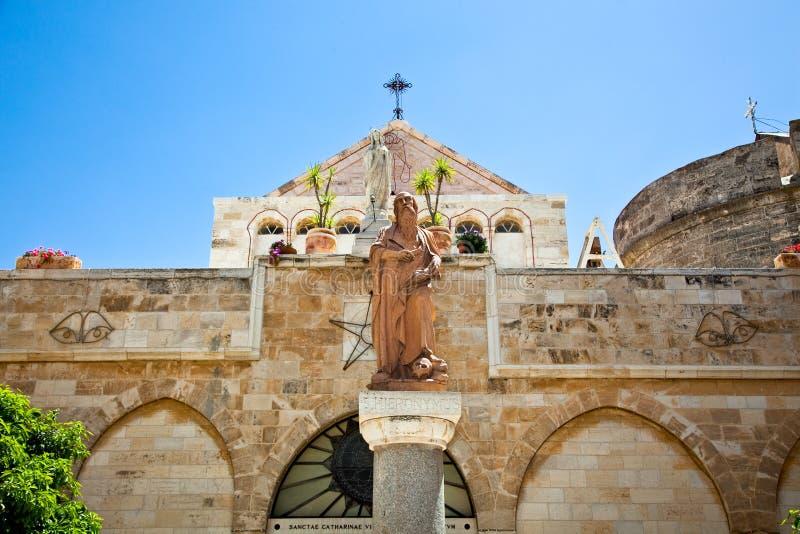 Het standbeeld van Hieronymus, Kerk van de Geboorte van Christus stock fotografie