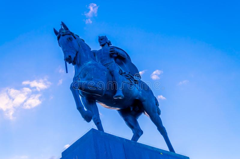 Het standbeeld van Koning Tomislav in Zagreb stock afbeelding