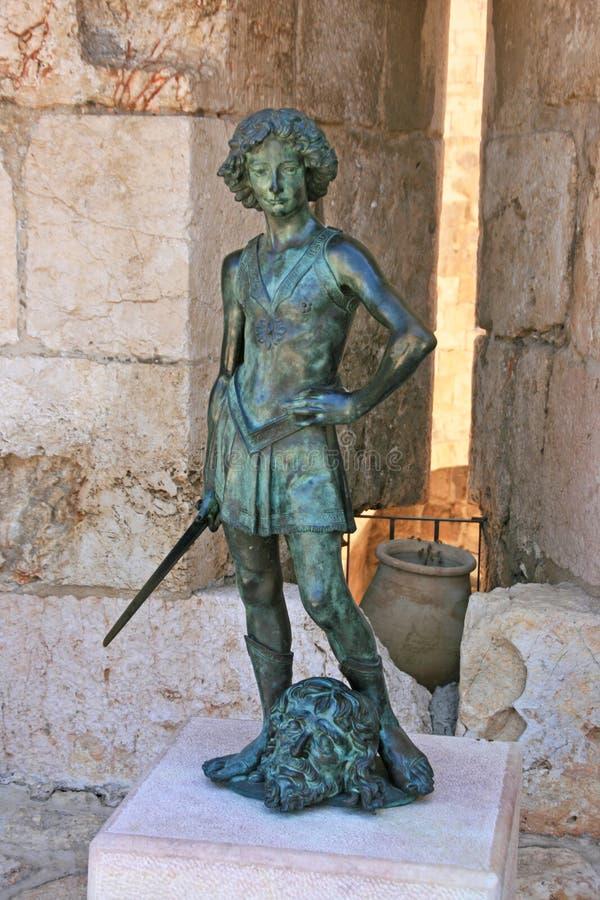 Het standbeeld van koningsDavid, Jeruzalem, Israël stock foto