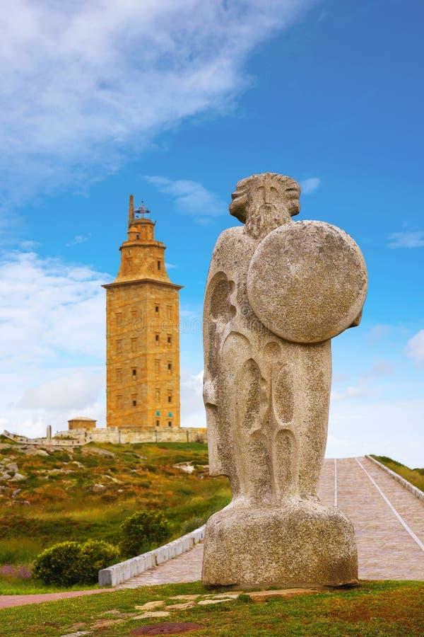 Het standbeeld van La Coruna Breogan bij Hercules-toren Galicië royalty-vrije stock afbeelding
