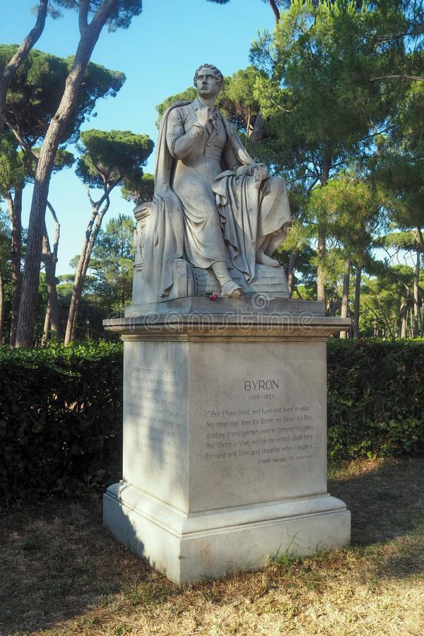 Het standbeeld van Lord Byron in Rome, Italië royalty-vrije stock fotografie