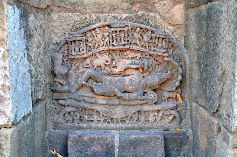 Het standbeeld van Lord Vishnu bij Ranien ki vav, patan, Gujarat royalty-vrije stock fotografie