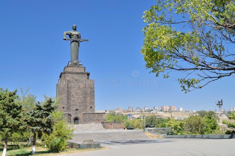 Het standbeeld van moederarmenië in Victory Park royalty-vrije stock foto's