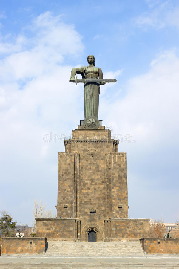 Het standbeeld van moederarmenië in Victory Park, Yerevan stock afbeelding