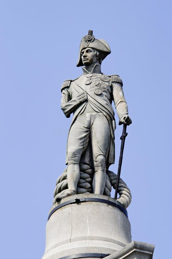 Het standbeeld van Nelson van de admiraal in Londen stock afbeeldingen