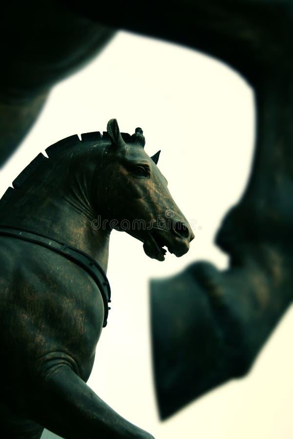 Het standbeeld van paarden op de Kathedraal van het Teken van Heilige, Venetië royalty-vrije stock foto's