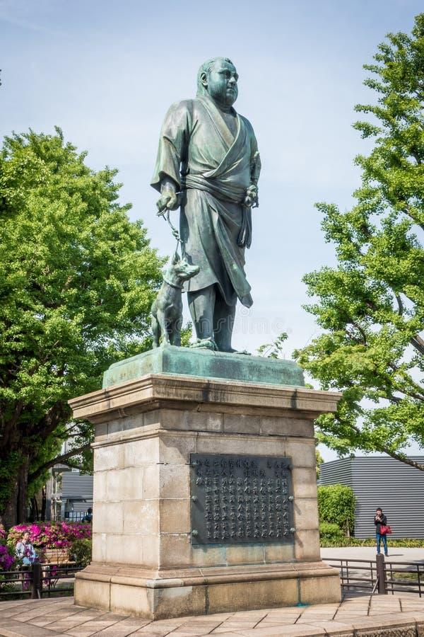 Het Standbeeld van Saigo Takamori de laatste Samoeraien in Ueno parkeert royalty-vrije stock afbeeldingen