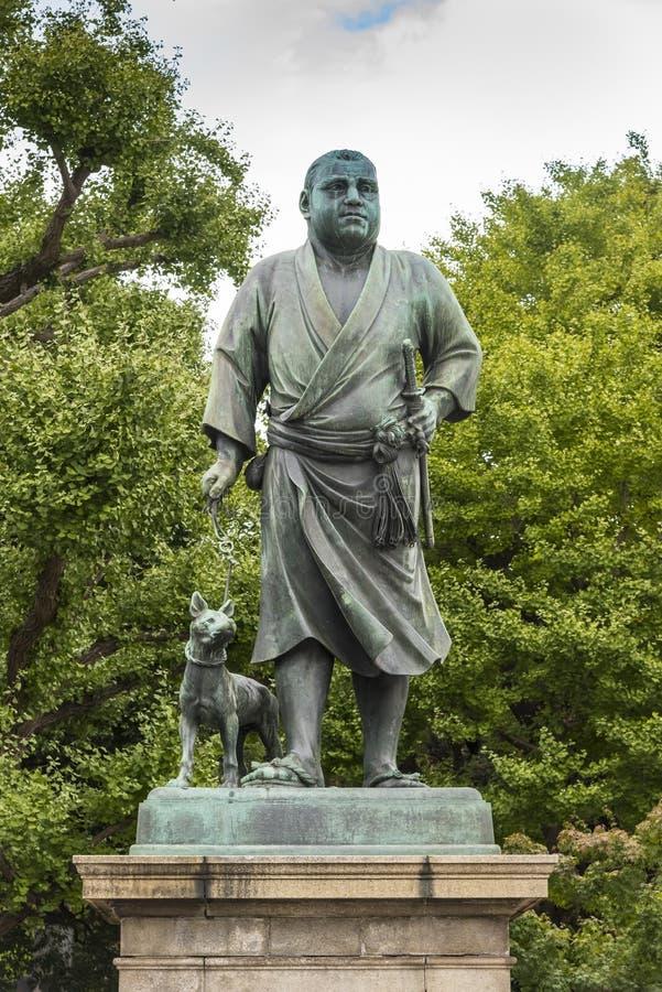 Het standbeeld van Saigotakamori van de Laatste Samoeraien Ueno Tokyo stock afbeeldingen