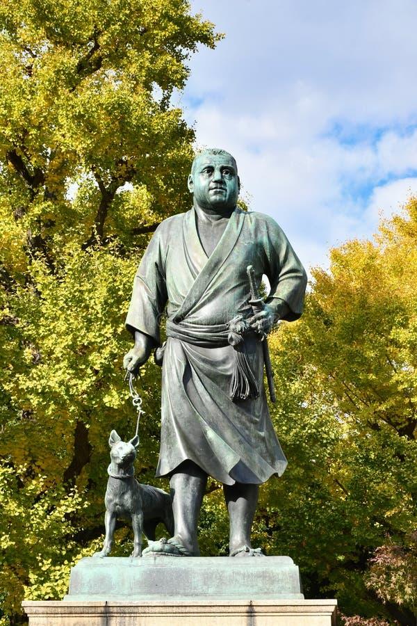 Het Standbeeld van Saigotakamori in Ueno-Park, Tokyo stock fotografie