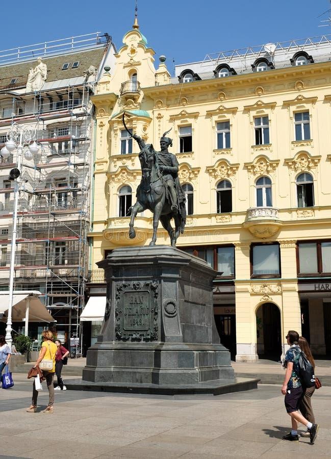 Het standbeeld van verbod Josip Jelacic op een paard, bij centraal vierkant van Zagreb royalty-vrije stock foto's
