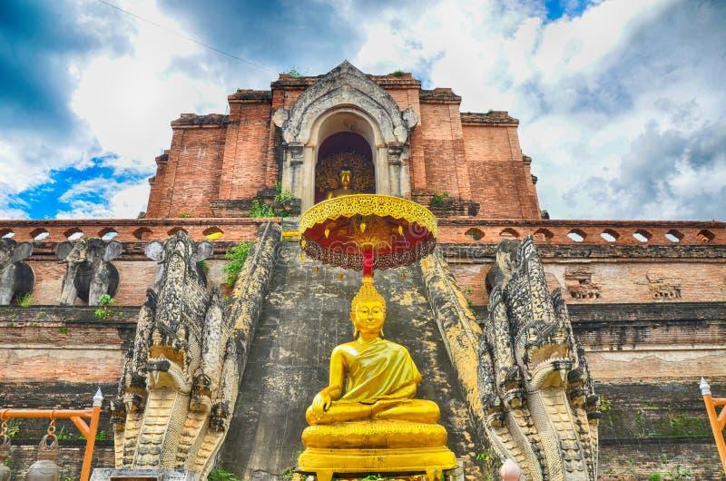 Het standbeeld van Wat Chedi Luang en van Boedha royalty-vrije stock foto