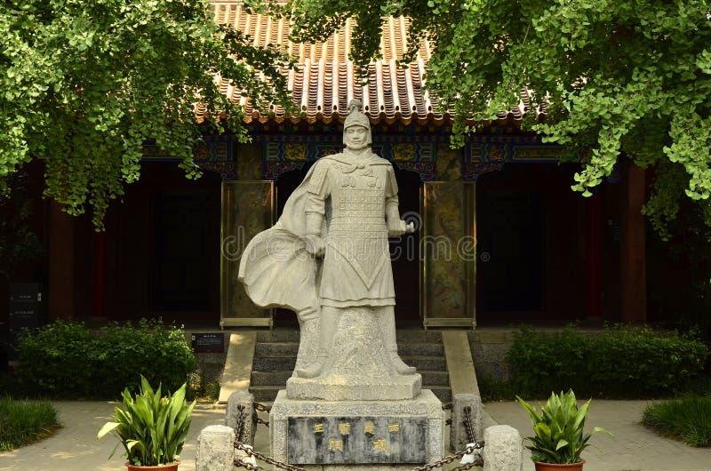 Het standbeeld van Xiang Yu op het Toneelgebied van het Dramapaard in Xuzhou, China stock foto