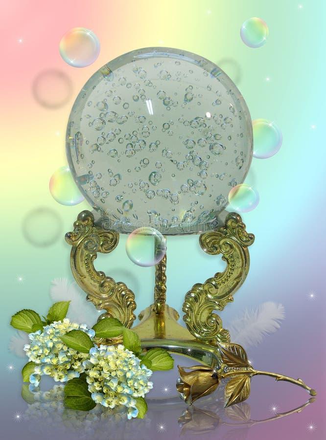 Het staren van het kristal bal royalty-vrije illustratie