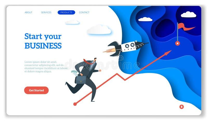 Het start landen Webpagina of website voor gemakkelijk startstrategie creatief project en Internet die uw zaken beginnen stock illustratie