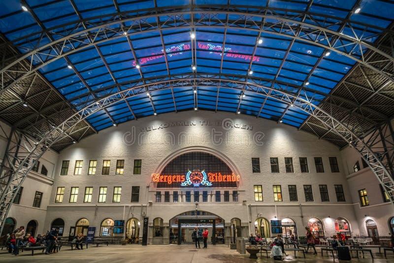 Het station in de stad van Bergen in Noorwegen royalty-vrije stock foto's