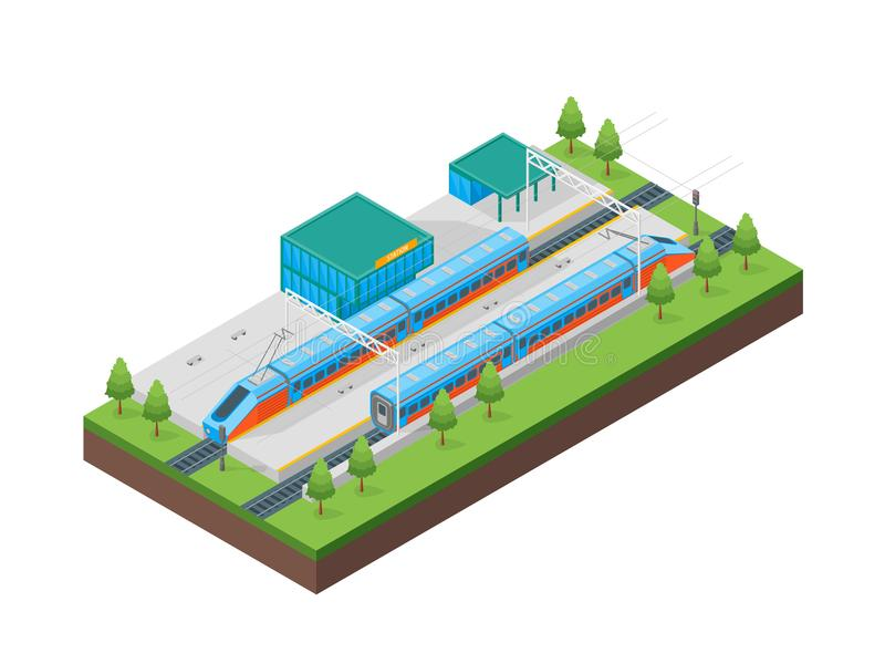Het Station Isometrische Mening van de spoorwegpassagier Vector stock illustratie