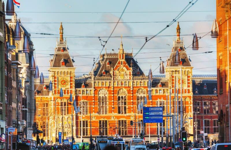 Het station van Amsterdam Centraal stock afbeelding