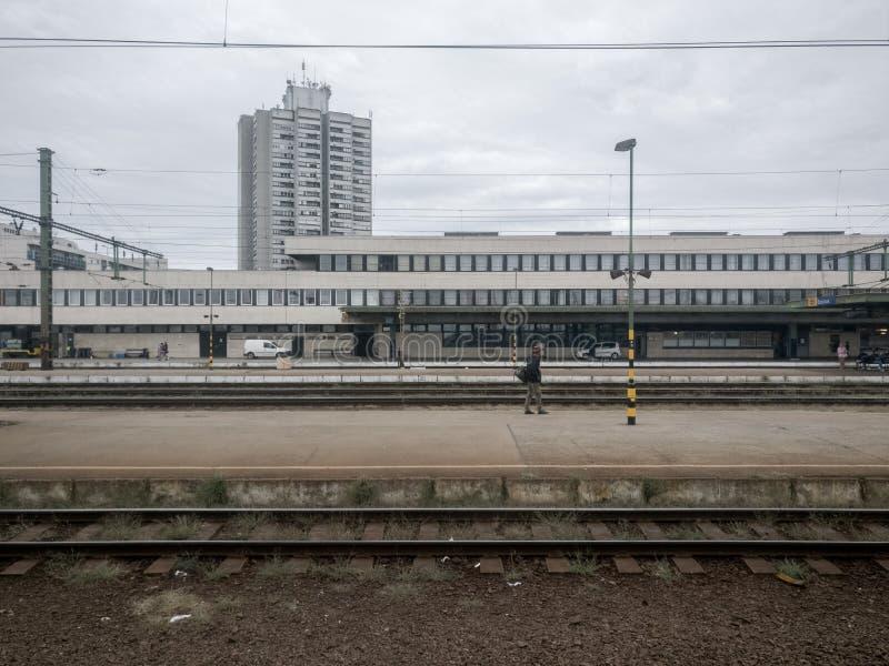 Het station van Hongarije in Szolnok-stad royalty-vrije stock foto's