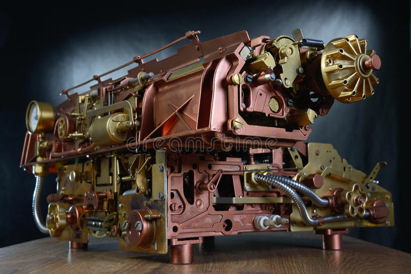 Het steampunkmechanisme. stock afbeeldingen