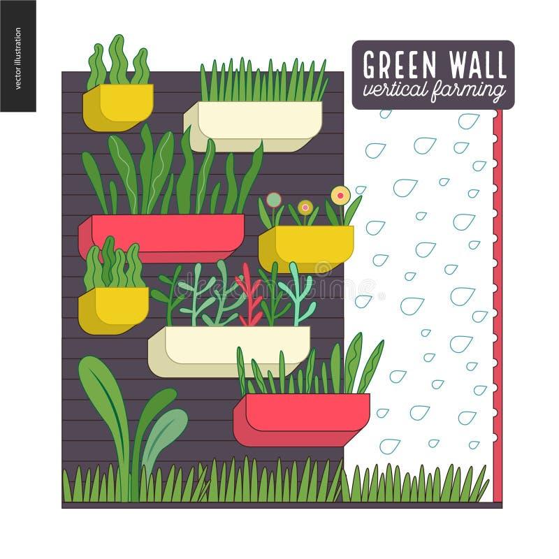 Het stedelijke landbouw en tuinieren - de verticale landbouw royalty-vrije illustratie