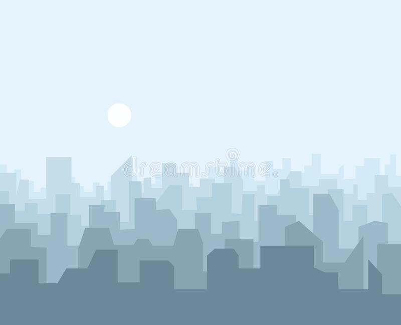 Het stedelijke landschap van de stadshorizon Cityscape silhouet in vlakke stijl stock illustratie