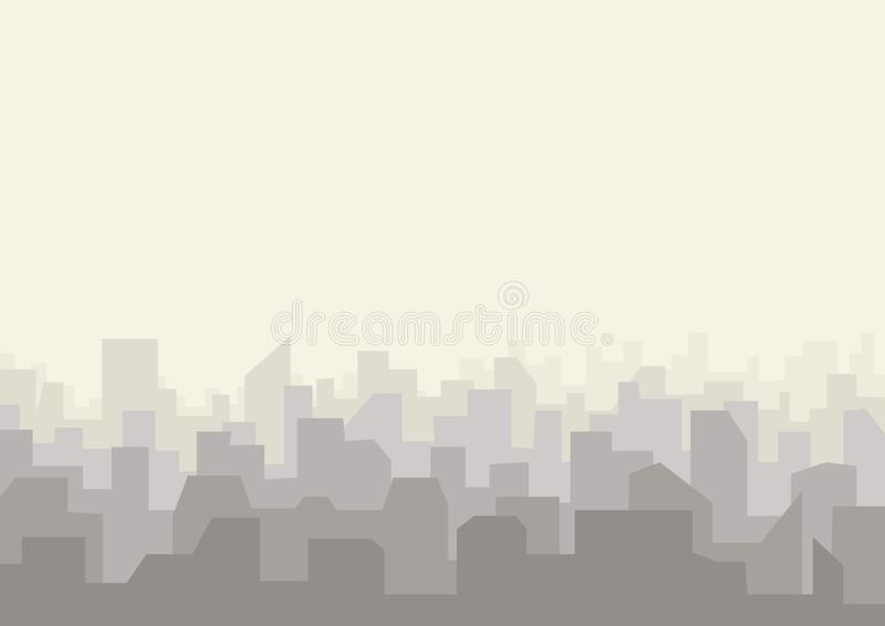 Het stedelijke landschap van de stadshorizon Cityscape silhouet in vlakke stijl royalty-vrije illustratie
