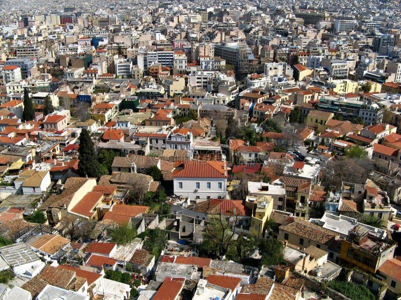 Het stedelijke leven - huizen en daken van stad   royalty-vrije stock foto's