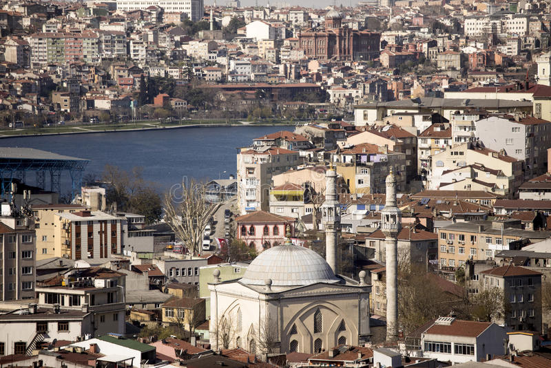 Het stedelijke overbevolken in Istanboel stock fotografie