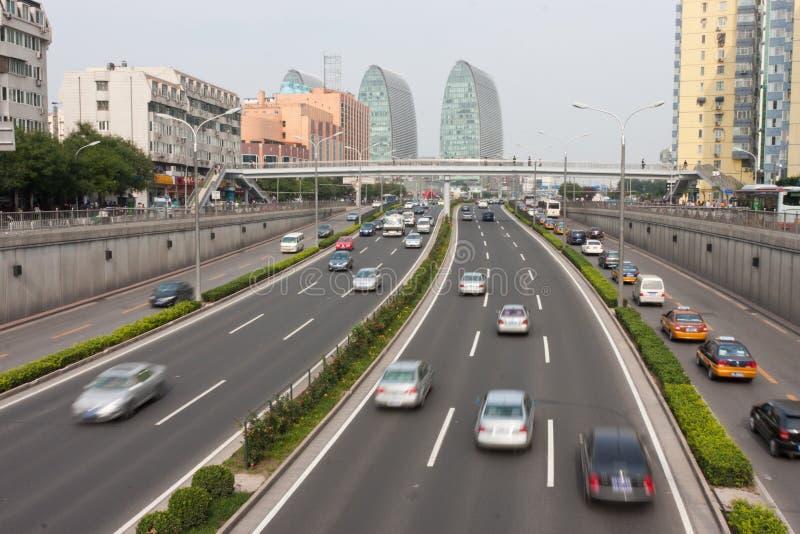 Het stedelijke verkeer van Peking royalty-vrije stock foto
