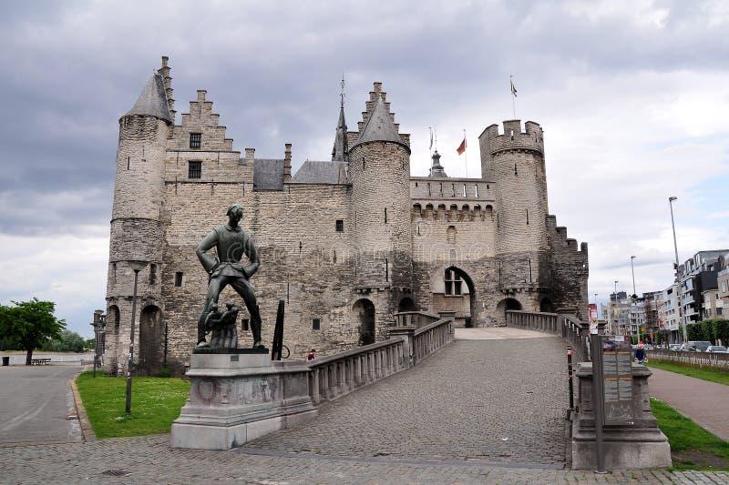 Het Steen Castle, Antwerp, Belgien royaltyfri fotografi