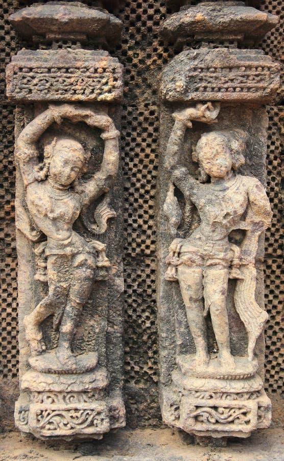 Het steenwerk in Konark tempel-3 stock fotografie