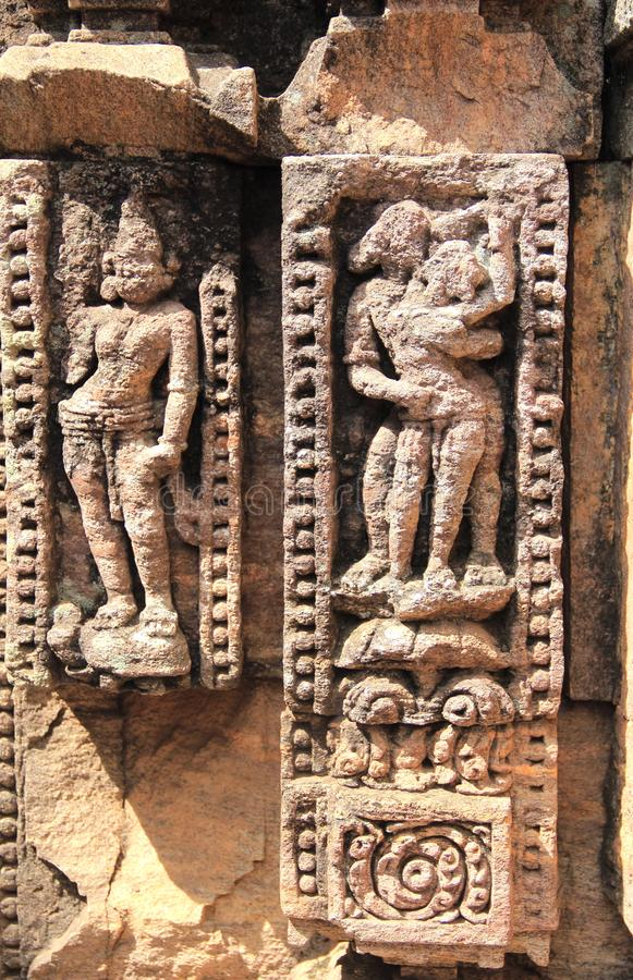 Het steenwerk in Konark tempel-25 stock foto's